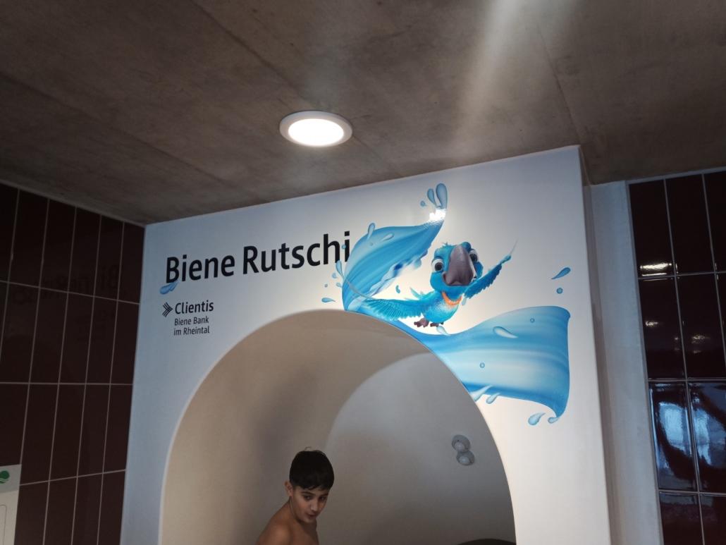 RZ Hallenbad Altstätten Rutschbahn Beschriftung