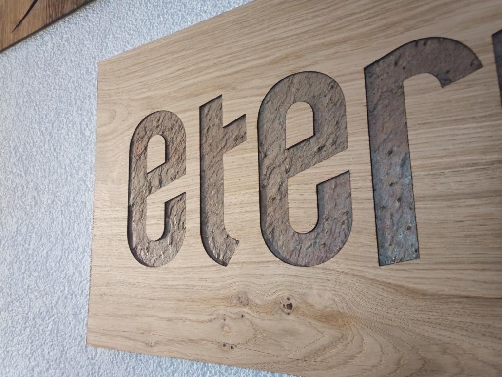 RZB Gefräste Echtfurnier-Platte mit Inlay aus Echtstein-Verbundplatteatte